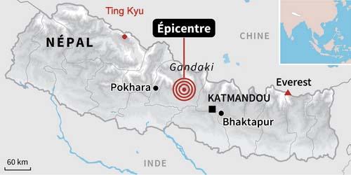 Carte du séisme au Népal Avril 2015
