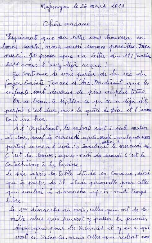 Lettre de l'orphelinat des Filles de Marie de Majunga