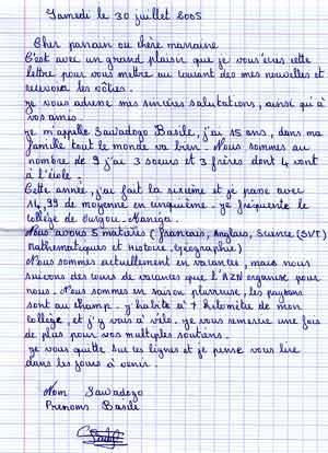 modele de lettre de parrainage Parrainage scolaire au Burkina Faso : parrainer un enfant pour  modele de lettre de parrainage
