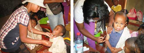 Vaccination et prise de vitamines pour les enfants de l'école Akany Aina à Madagascar