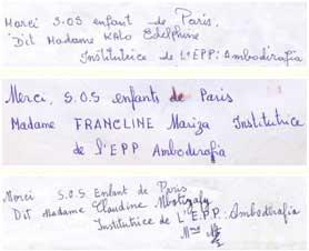 Remerciements des institutrices de l'école d'Ambodirafia à Madagascar