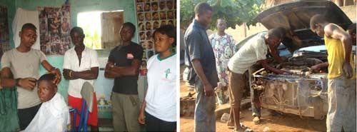 Formation professionnelle des orphelins : apprentis coiffeurs et mécaniciens