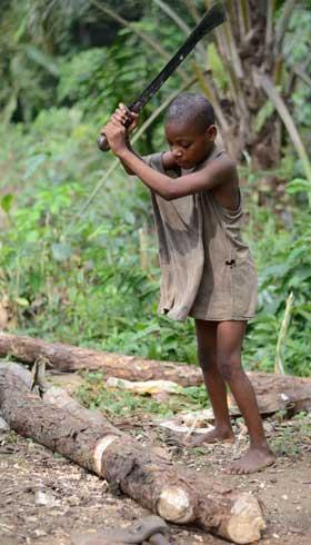 Enfant Pygmée coupant du bois dans son campement en forêt au Cameroun