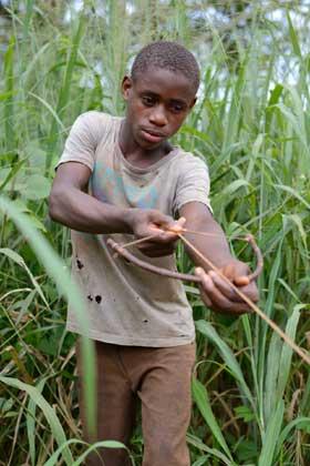 Enfant Pygmée chassant à l'arc dans laforêt au Cameroun