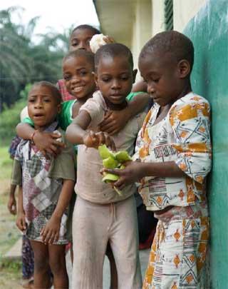 Enfants Pygmées mangeant des mangues au réveil, Bipindi, Cameroun