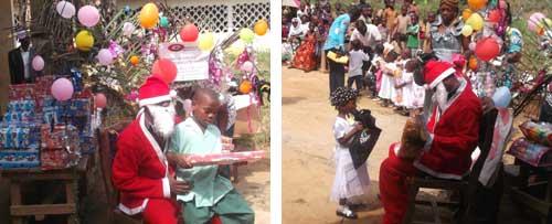 Le père Noël a offert de nombreux cadeaux aux enfants Pygmées Bagyeli de Bipindi au Cameroun
