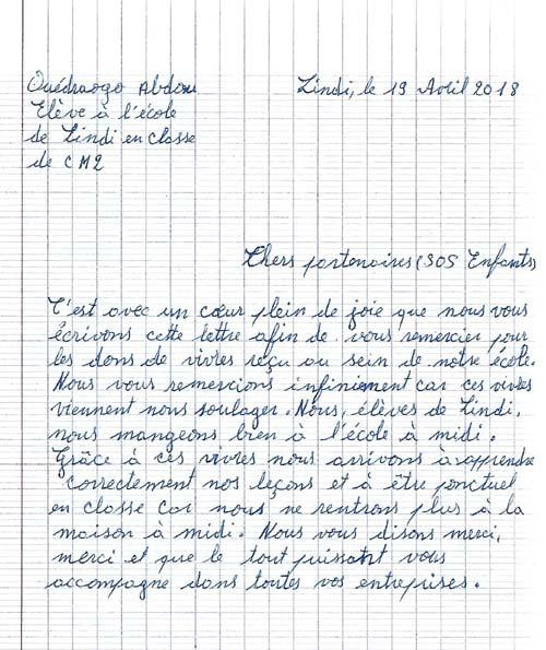 Lettre de remericement d'un écolier de Lindi au Bukina Faso