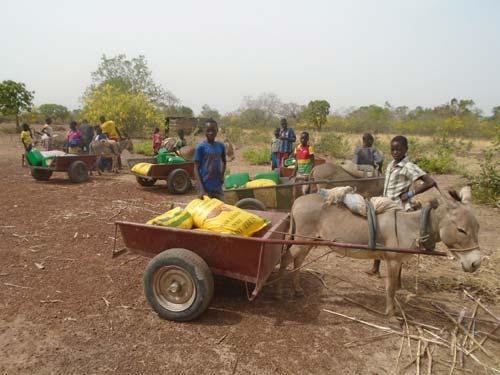 Transport des vivres pour la cantine scolaire de l'école de Lindi au Bukina Faso