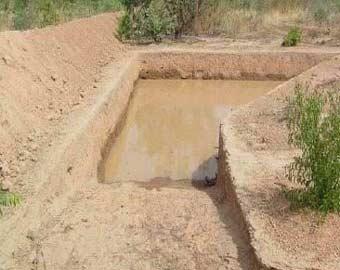 Mare de retenue d'eau ou bulli du périmètre Neerwaya à Goèma