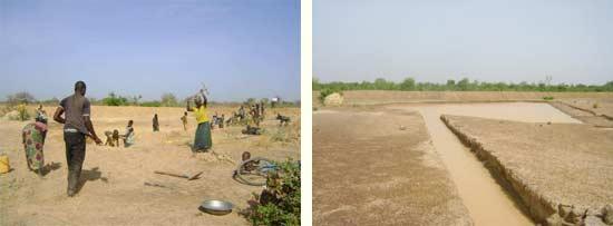 La grande mare commune de retenue d'eau du périmètre Neerwaya à Goèma