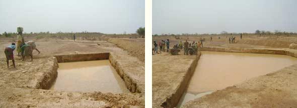 Mares ou bullis remplies d'eau de pluie, Ferme Pilote de Goéma, Burkina Faso