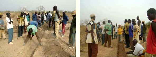 Tranchées et diguettes aménagées dans le périmètre Neerwaya, Ferme Pilote de Goèma, Burkina Faso