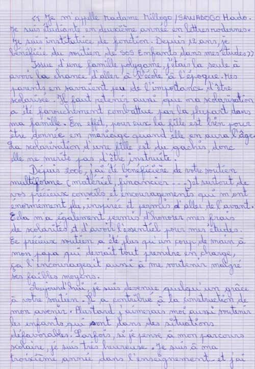 Lettre d'une étudiante Burkinabé à sa marraine