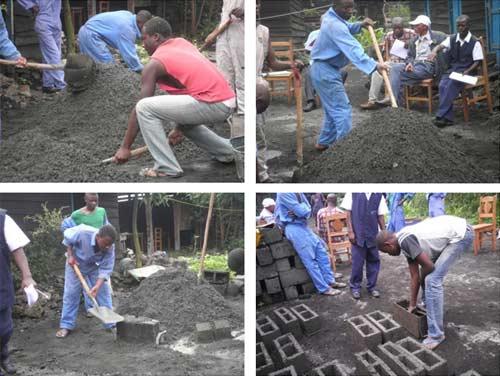 Epreuve pratique pour le certificat professionel de maçonnerie à Goma.