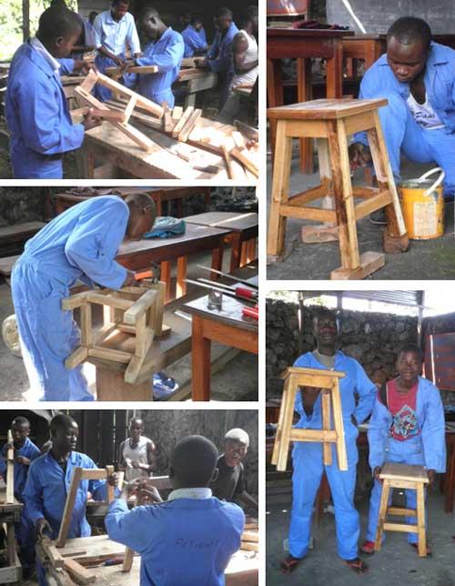 Fabrication de tabourets par les ex enfants soldats apprentis menuisiers de Goma.