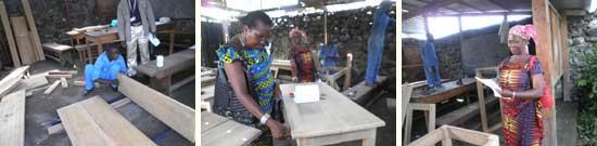 Jury d'examen final, formation en menuiserie à Goma