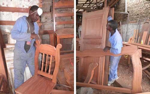 Fabrication de meubles par les ex enfants soldats de Goma.