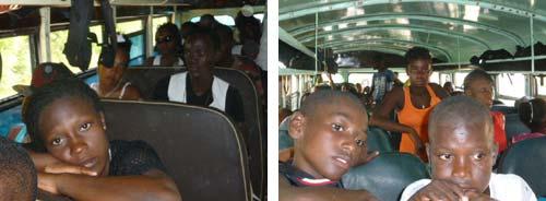 Retour en autocar vers le bidonville de Cité Soleil en Haïti