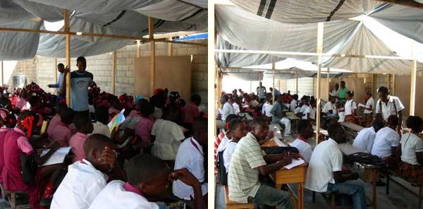 Les cours ont lieu en plein air, sous des tentes, dans la cour de l'école St Alphonse de Cité Soleil en Haïti