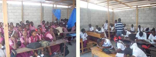 Classe provisoire sous bâches dans la cour, école St Alphonse de Cité Soleil en Haïti