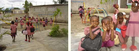 Les enfants dans la cour de la section Préscolaire - Ecole St Alphonse, Cité Soleil, Haïti