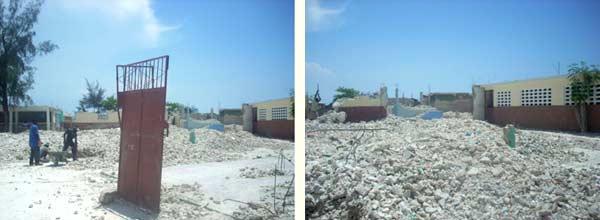 Démolition des bâtiments gravement endommagés de l'école St Alphonse de Cité Soleil