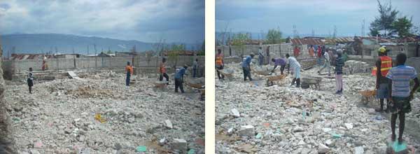 Construction d'un mur d'enceinte sur la nouvelle parcelle de l'école St Alphonse de Cité Soleil