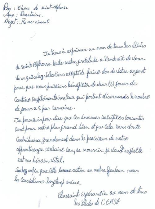 Lettre de remerciements des enfants du bidonville de Cité Soleil en Haïti pour l'aide apportée après l'ouragan Matthew