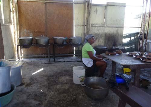 Cuisine provisoire de la cantine de l'école St Alphonse, bidonville de Cité Soleil en Haïti