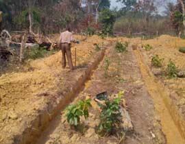 Creusement des fondations du centre de santé de Kabweke, Nord Kivu en RD Congo