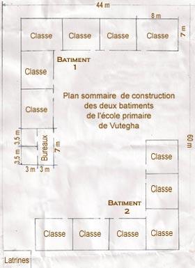 Plan sommaire de construction des deux bâtiments de l'école primaire Vutegha au Nord Kivu, RD Congo