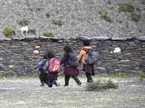 Enfants tibétains sur le chemin de l'école dans le Haut Dolpo au Népal