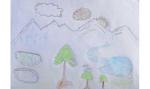 Dessin de la vallée de Panzang dans le Haut Dolpo, Népal