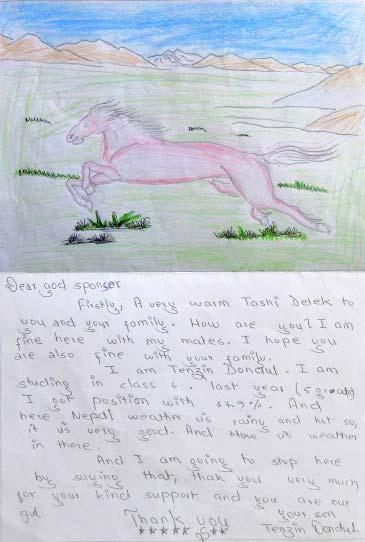 Lettre d'enfant du Népal, dessin d'un cheval dans une vallée du Haut Dolpo