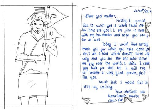 Lettre d'enfant du Népal, dessin d'un Dolpopa