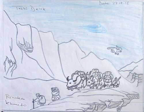 Paysages du Haut-Dolpo avec des yacks vu par un enfant tibétain du Népal
