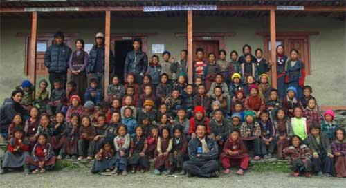 Ecole tibétaine de Ting Kyu dans la vallée de Panzang, dans le Haut Dolpo au Népal