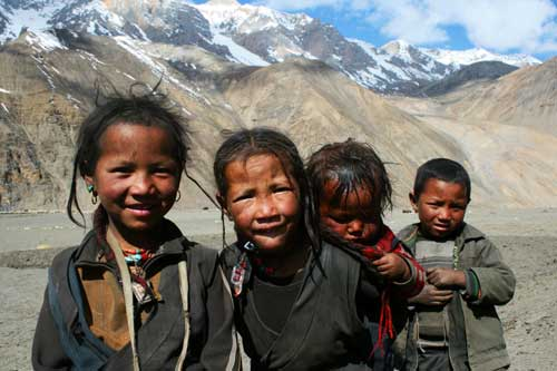 Enfants tibétains du Haut Dolpo au Népal