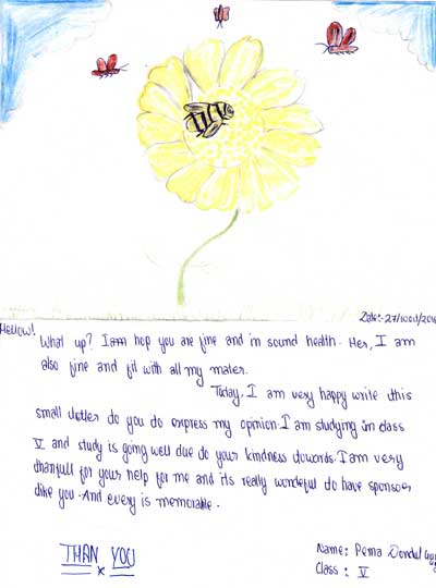 Lettre à sa marraine d'un collégien du Dolpo au Népal