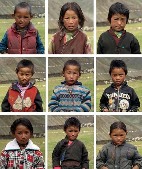 Enfants du Tibet, élèves de la nursery de l'école de Ting Kyu au Népal promotion 2013