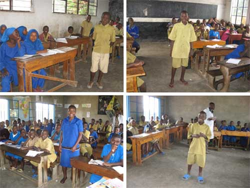 Salles de classe d'école primaire au Rwanda