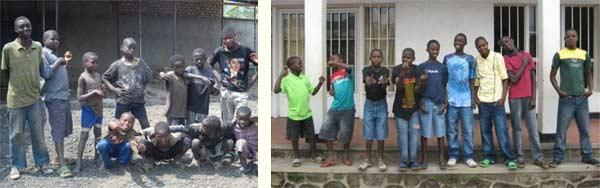 Les enfants des rues brûlent symboliquement leurs haillons et reçoivent des vêtements neufs