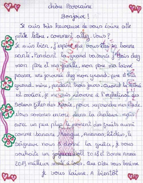 Lettre de remerciement aux parrains et marraines des orphelines de Majunga à Madagascar