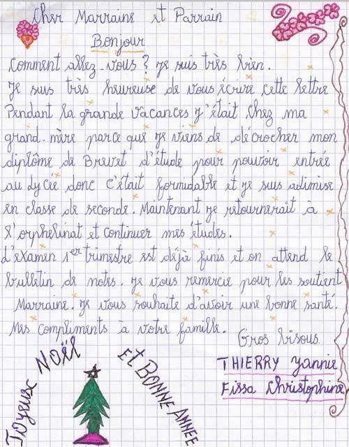 Lettre de remerciement aux parrains et marraines des orphelines de l'Ile Ste Marie à Madagascar