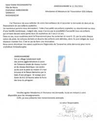 Lettre de l'orphelinat d'Amboangibe