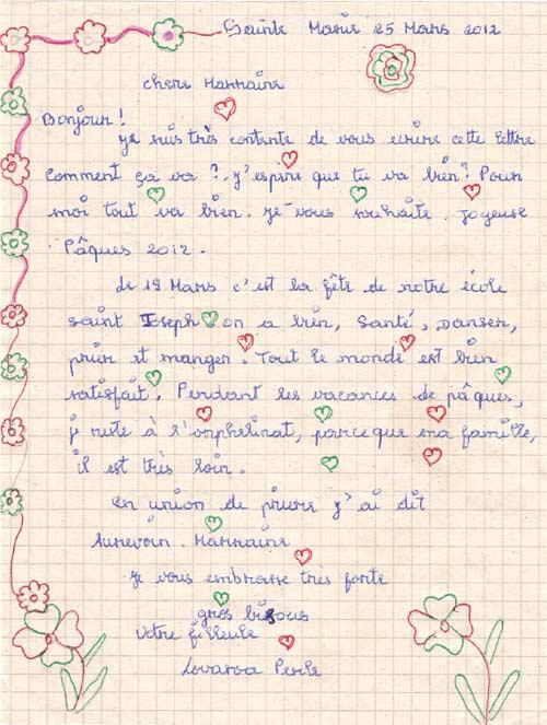 Lettre d'une orpheline de Ste Marie à ses parrains et marraines de France