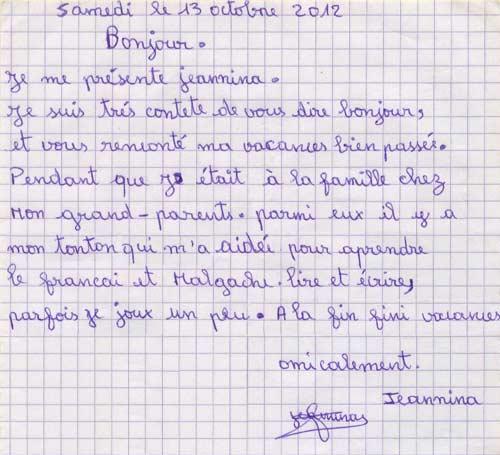 Lettre d'une orpheline de Sambava à ses parrains et marraines de France