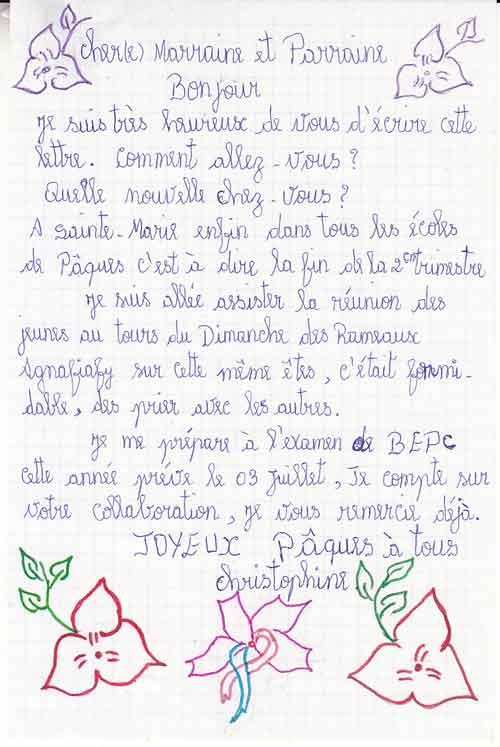 Lettre d'une orpheline de Madagascar à son parrain pour Pâques