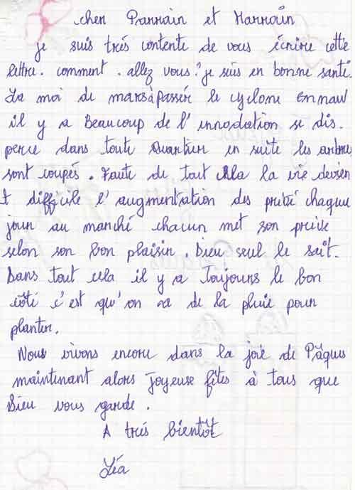 Lettre d'une orpheline de Madagascar à sa marraine pour Pâques