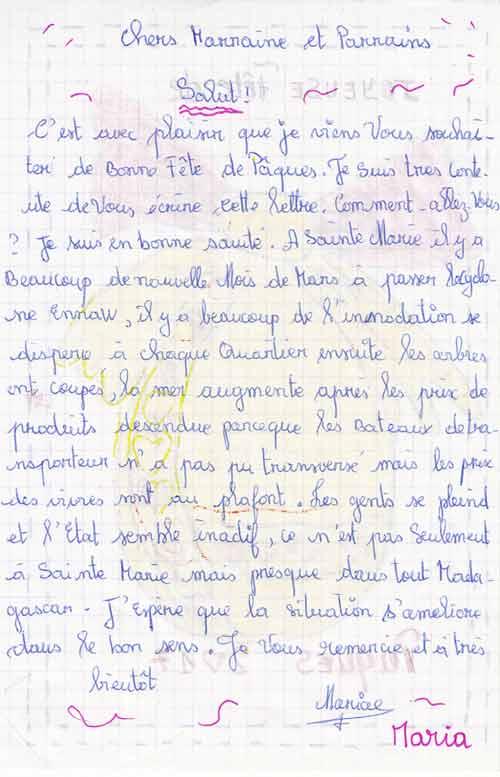 Lettre d'un orphelin de Madagascar à son parrain et sa marraine pour Pâques